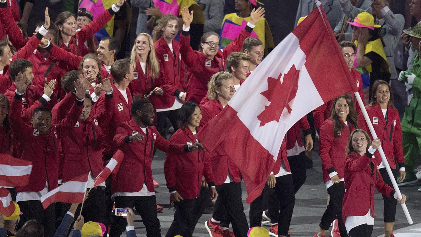 Rosie MacLennan walking in Team Canada at Rio 2016