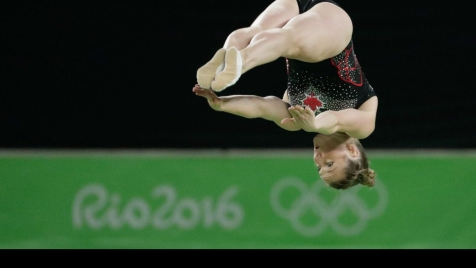 Rosie MacLennan competes on trampoline at Rio 2016