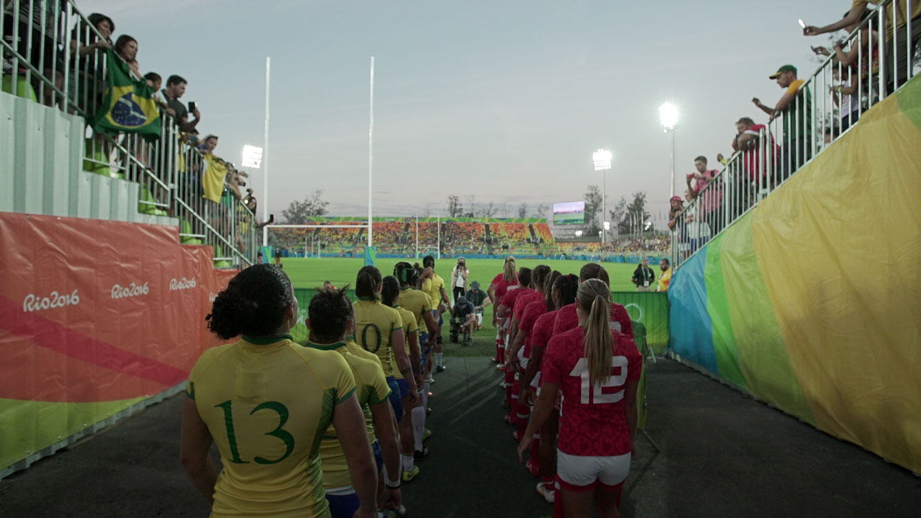 Canada (in red) and Brazil lineup ahead of their Olympic rugby match in Deodoro on August 6, 2016.