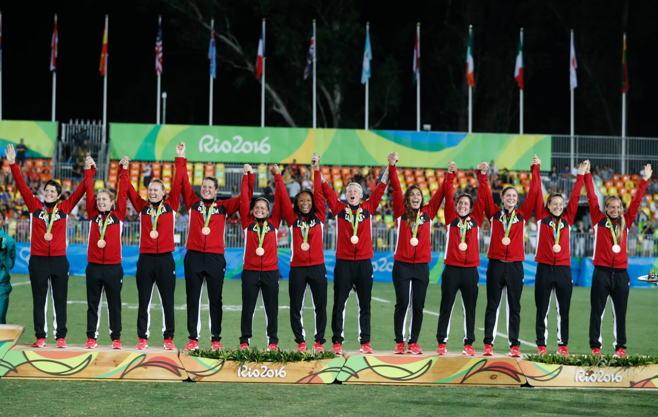 The Rio 2016 Canadian Women's Rugby Sevens bronze medal winners (Photo/ Mark Blinch)