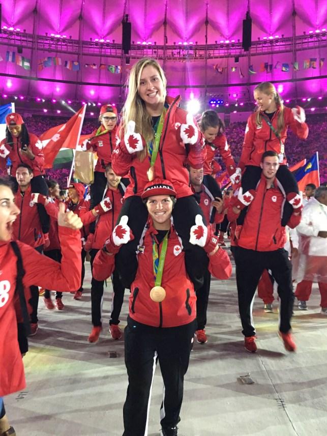 Kayla Moleschi and Britt Benn at the Rio 2016 Closing Ceremonies.