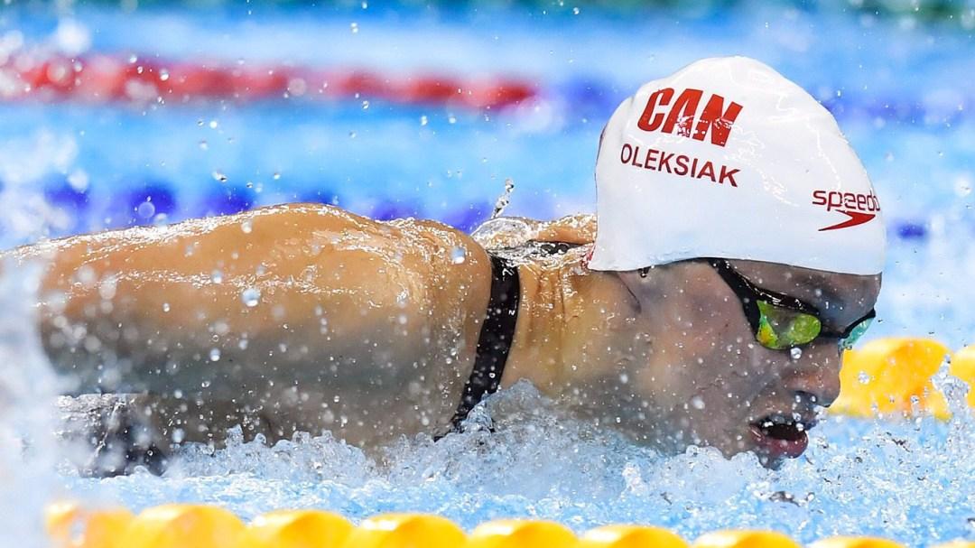 Penny Oleksiak swimming a butterfly race