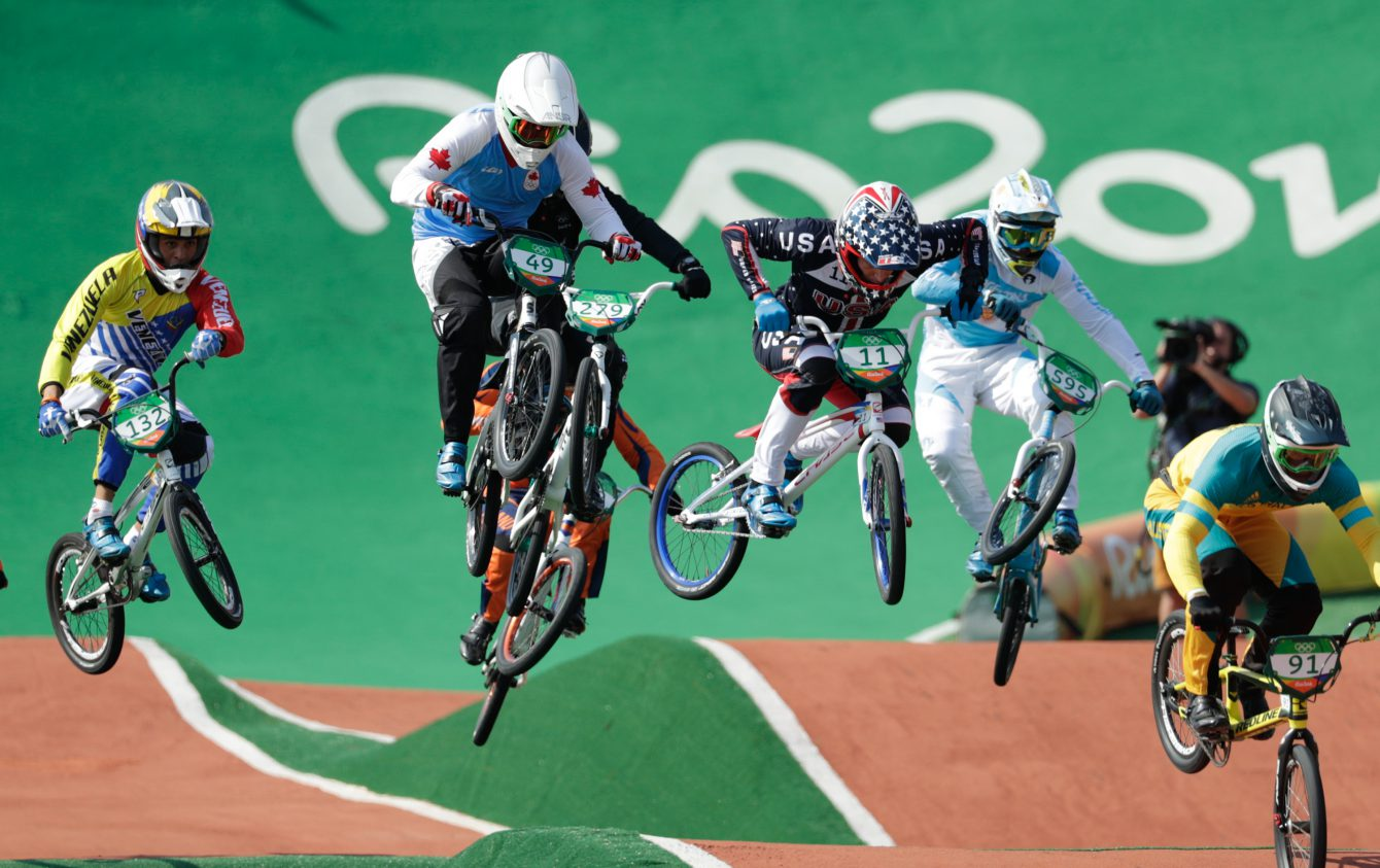 Tory Nyhaug competes in the BMX semifinals at, Rio 2016, em route for a fifth place finish. (August 19, 2016, COC/Jason Ransom)