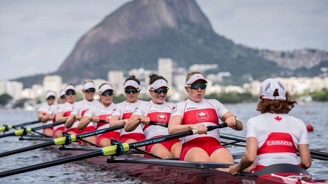 The women's eight boat races in the repechage during Rio2016 on August 11, 2016. (David Jackson/COC)