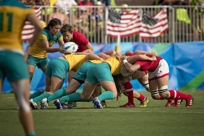 Canada faces Australia in the Rio 2016 rugby sevens semi final match (Photo: Paige Stewart).