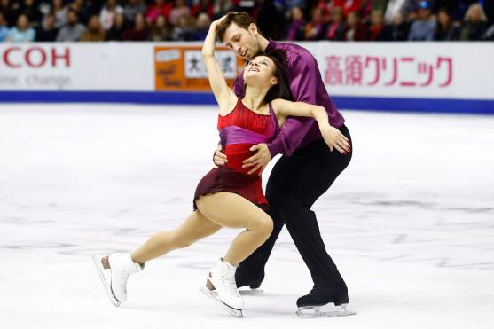 Canada's Lubov Ilyushechkina and Dylan Moscovitch performs in the Pairs Free Skating Program during the 2016 Skate Canada International competition in Mississauga, Ont., on Saturday, October 29, 2016. THE CANADIAN PRESS/Mark Blinch