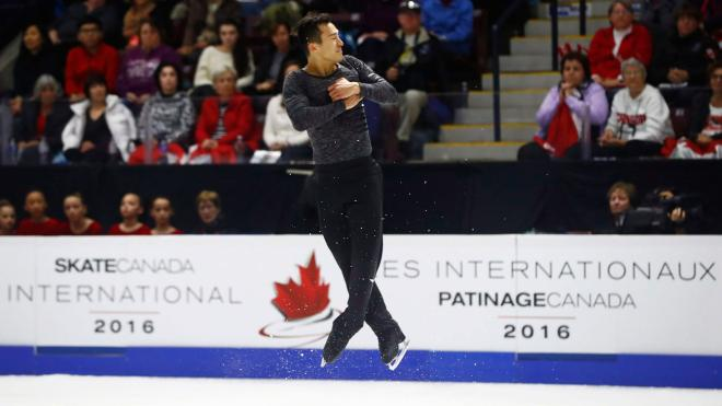 Canada's Patrick Chan performs in the Men's Free Skating Program during the 2016 Skate Canada International competition in Mississauga, Ont., on Saturday, October 29, 2016. THE CANADIAN PRESS/Mark Blinch