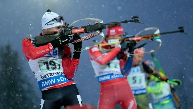Nathan Smith in action during single mixed relay at the Biathlon World Cup in Ostersund, Sweden, on Nov. 29, 2015. (Marie Birkl / TT via AP)