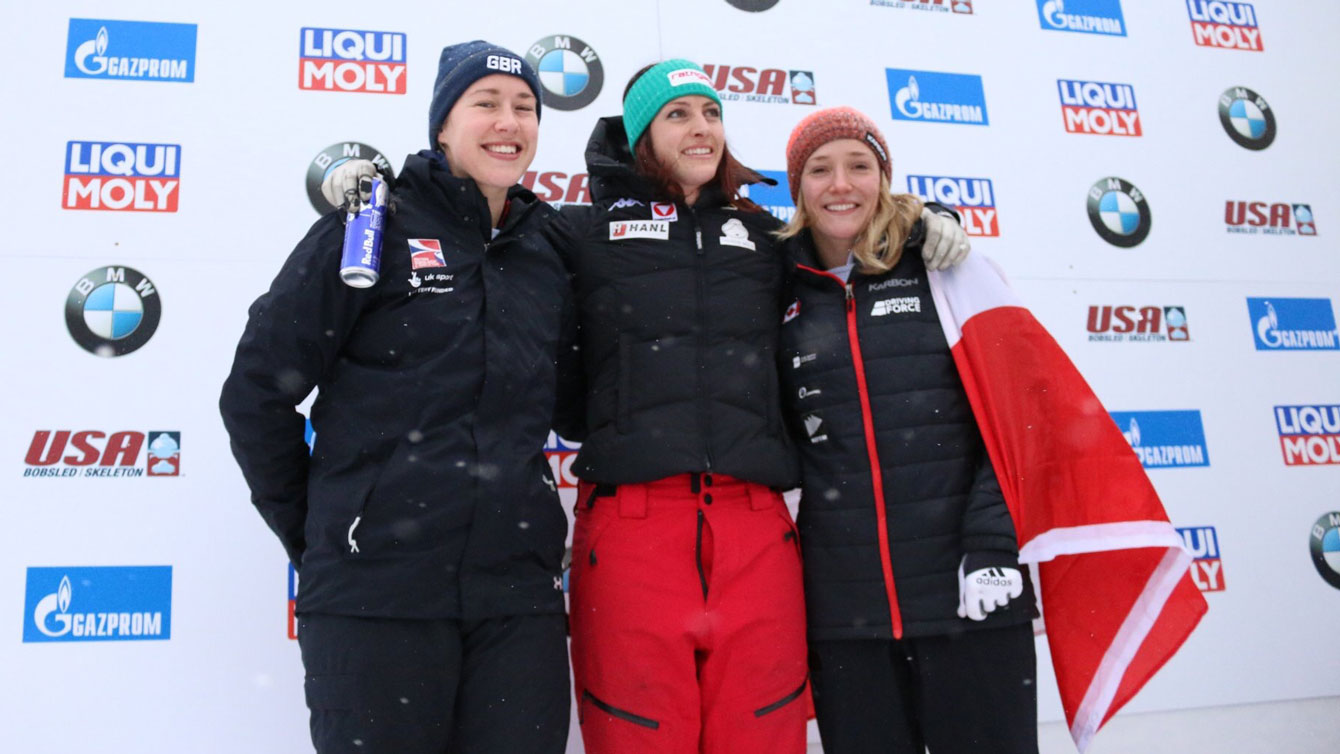 Rahneva celebrates her first World Cup podium, after claimed skeleton bronze in Lake Placid. (Photo: Lake Placid Events)