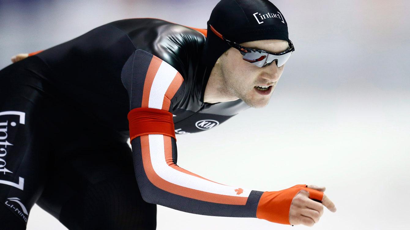Vincent De Haitre races in the men's 1000m at the ISU World Cup in Heerenveen, Netherlands on Dec. 12, 2015. (AP Photo/Peter Dejong)