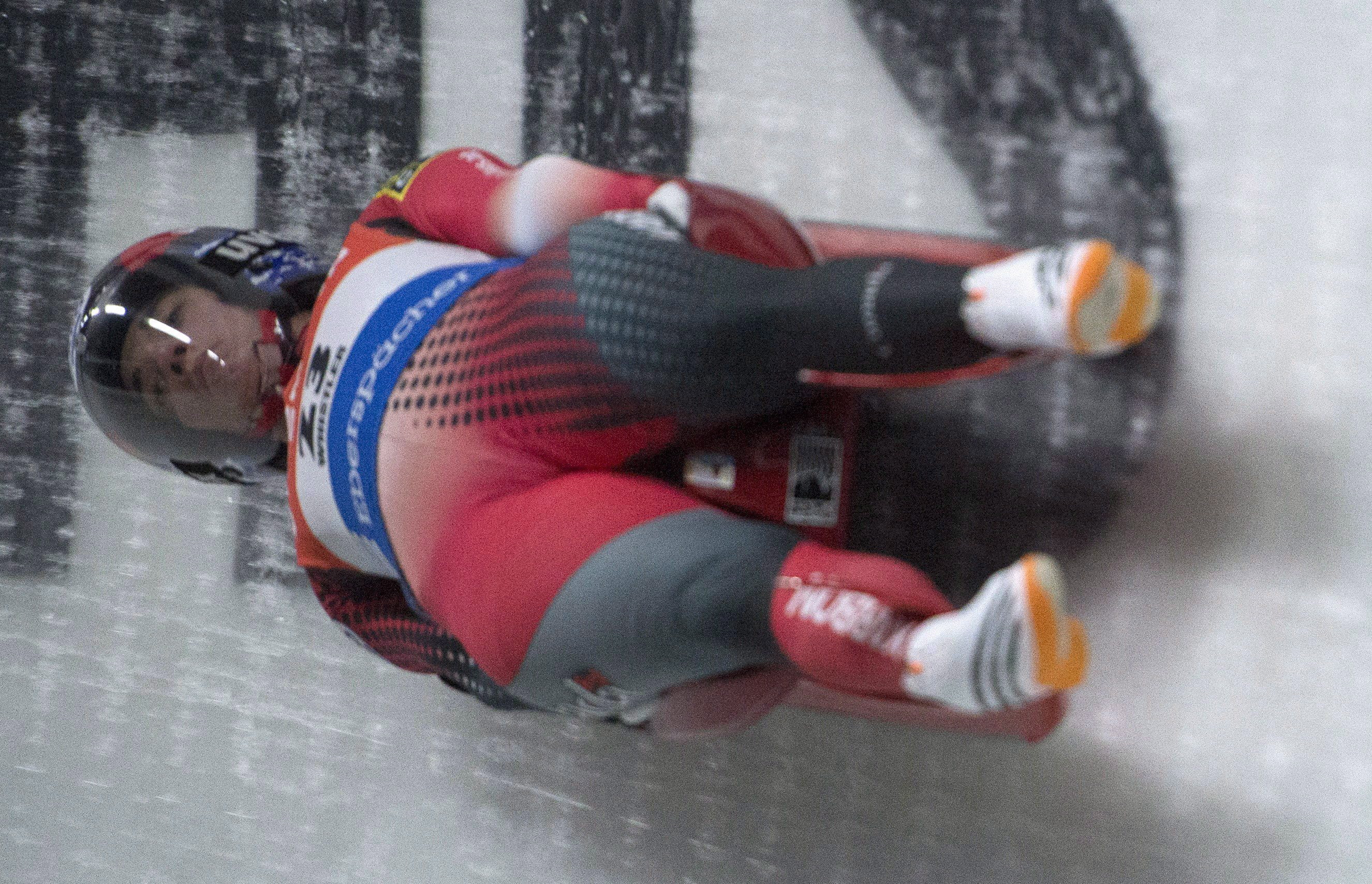 Kimberley McRae of Canada slides during the women's Luge World Cup in Whistler, B.C. Saturday, Dec. 10, 2016. THE CANADIAN PRESS/Jonathan Hayward