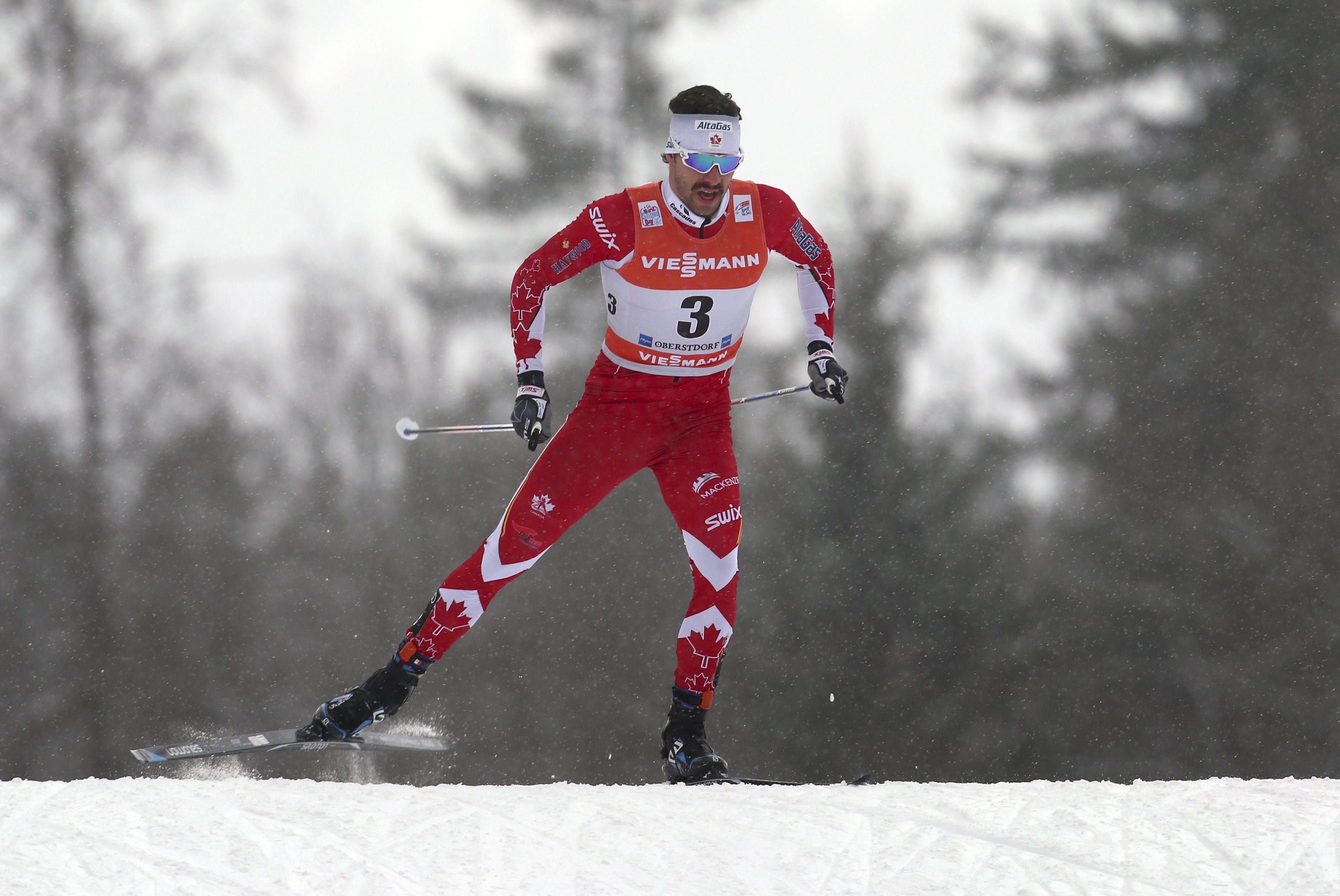 Alex Harvey of Canada skis during the men's pursuit race at the FIS Tour de Ski in Oberstdorf, Germany, Wednesday, Jan. 4, 2017. ( Karl-Josef Hildenbrand/dpa via AP)