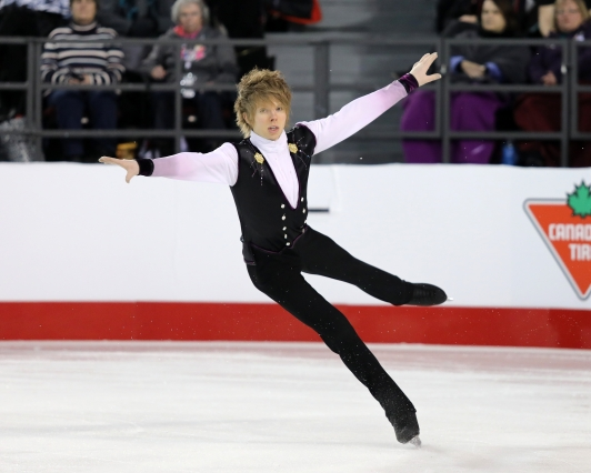 Kevin Reynolds in the free skate at the Canadian Tire National Skating Championships, January, 21, 2017 PHOTO: Greg Kolz