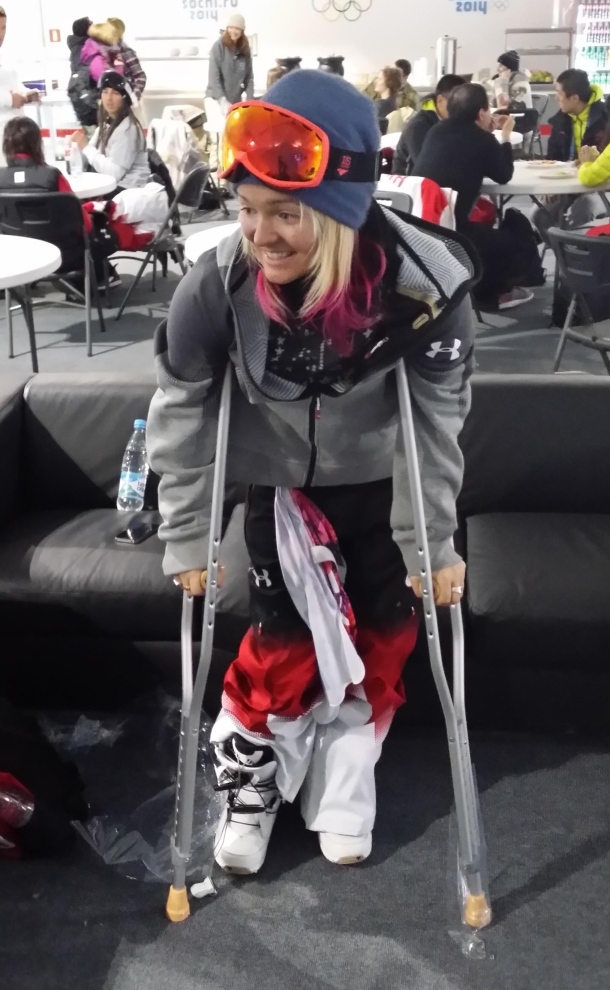Mercedes Nicoll on crutches the day after the women's halfpipe competition at Sochi 2014