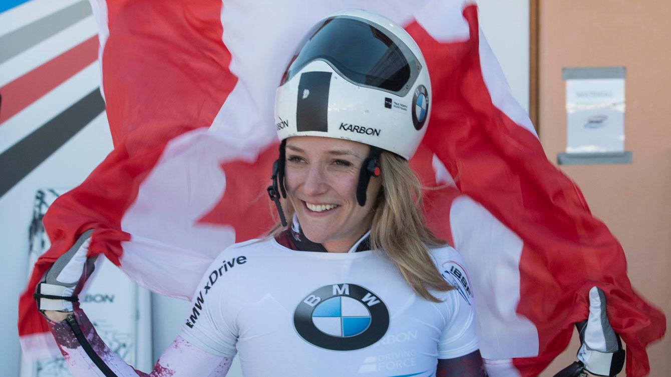 Mirela Rahneva after winning her first World Cup in St. Moritz, Switzerland, on Jan. 20, 2017. (Urs Flueeler/Keystone via AP)