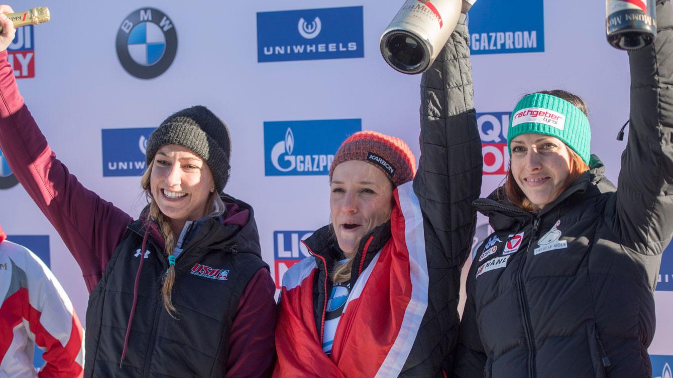 Mirela Rahneva celebrates her first World Cup victory in St. Moritz, Switzerland, on Friday, Jan. 20, 2017. (Urs Flueeler/Keystone via AP)