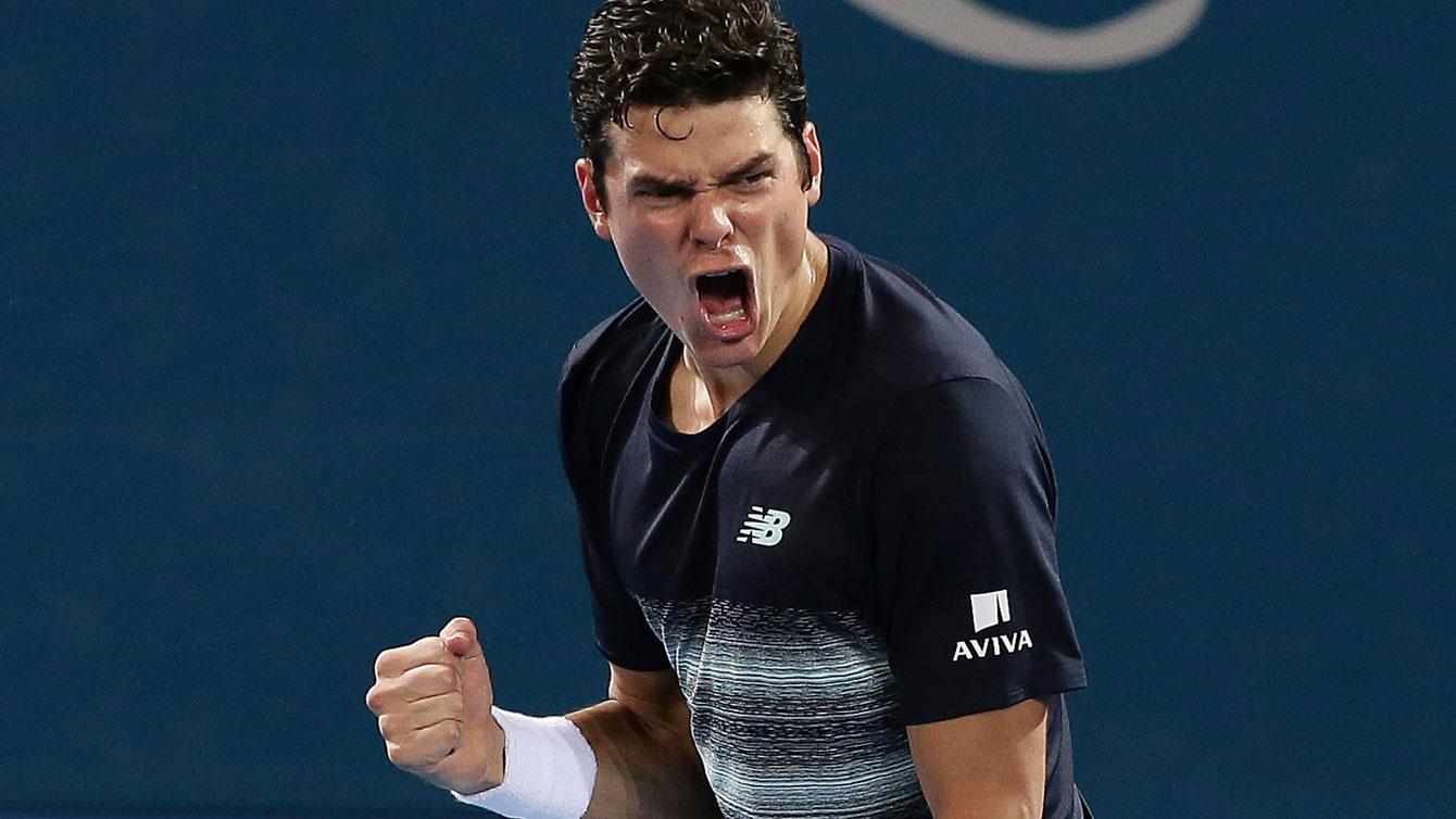 Milos Raonic following his win over Rafa Nadal at the Brisbane International on January 6, 2017.