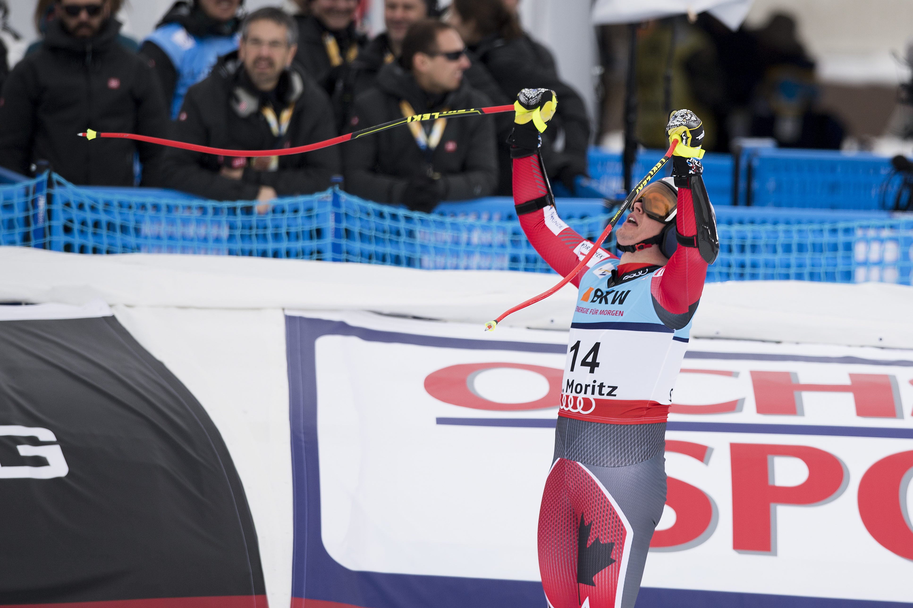 Erik Guay of Canada reacts in the finish area during the men's Super-G race at the 2017 Alpine Skiing World Championships in St. Moritz, Switzerland, Wednesday, Feb. 8, 2017. (Alexandra Wey/Keystone via AP)