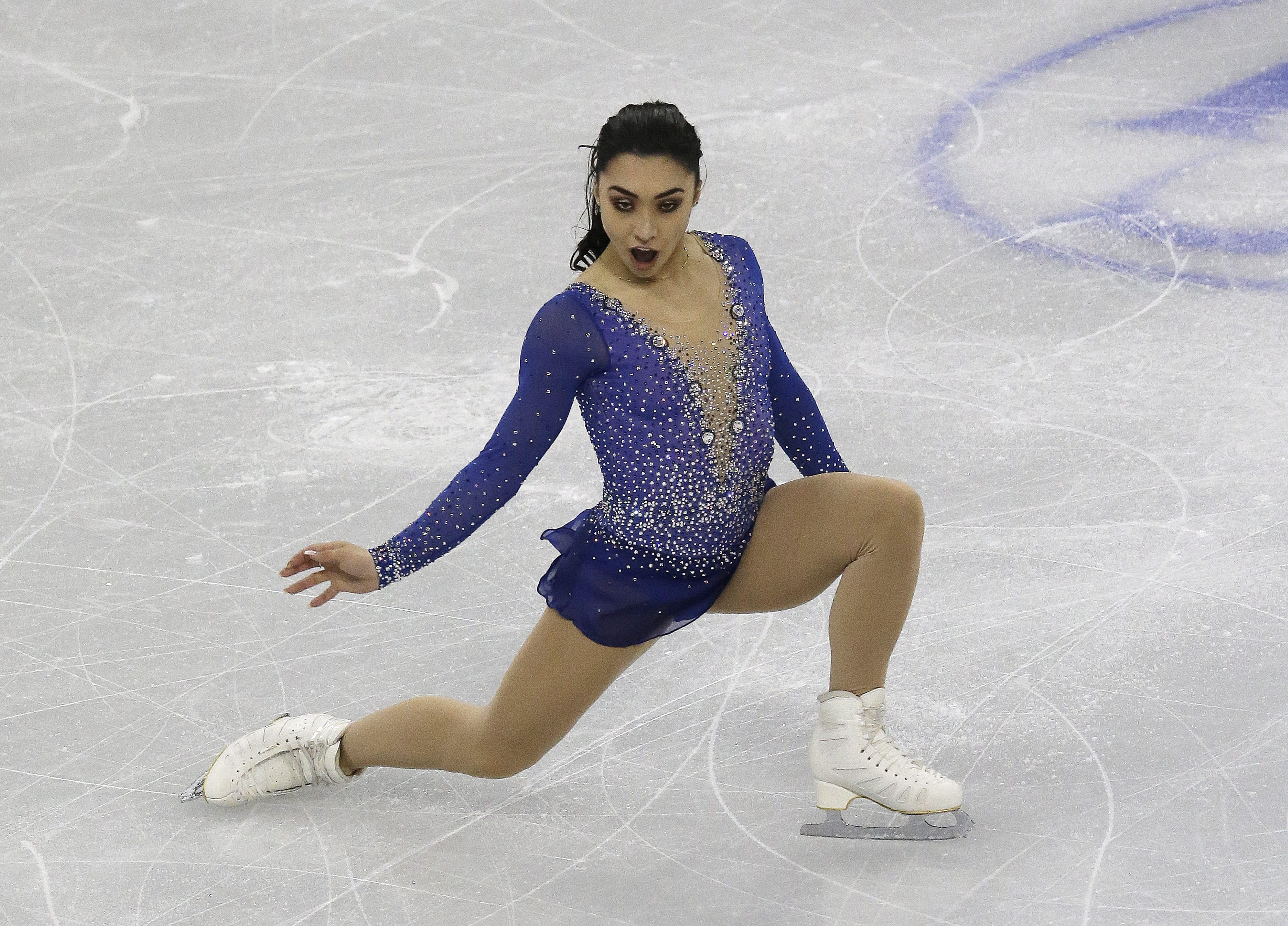 Silver medalist Gabrielle Daleman of Canada competes in the Ladies Free Skating at the ISU Four Continents Figure Skating Championships in Gangneung, South Korea, Saturday, Feb. 18, 2017. (AP Photo/Ahn Young-joon)