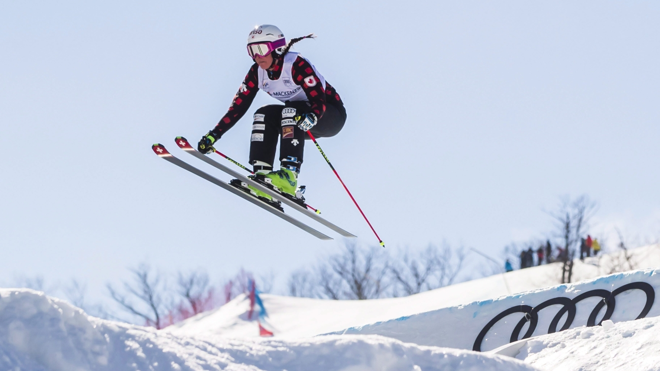 Marielle Thompson of Canada flies off a jump during training sessions for the FIS Ski Cross World Cup 2017