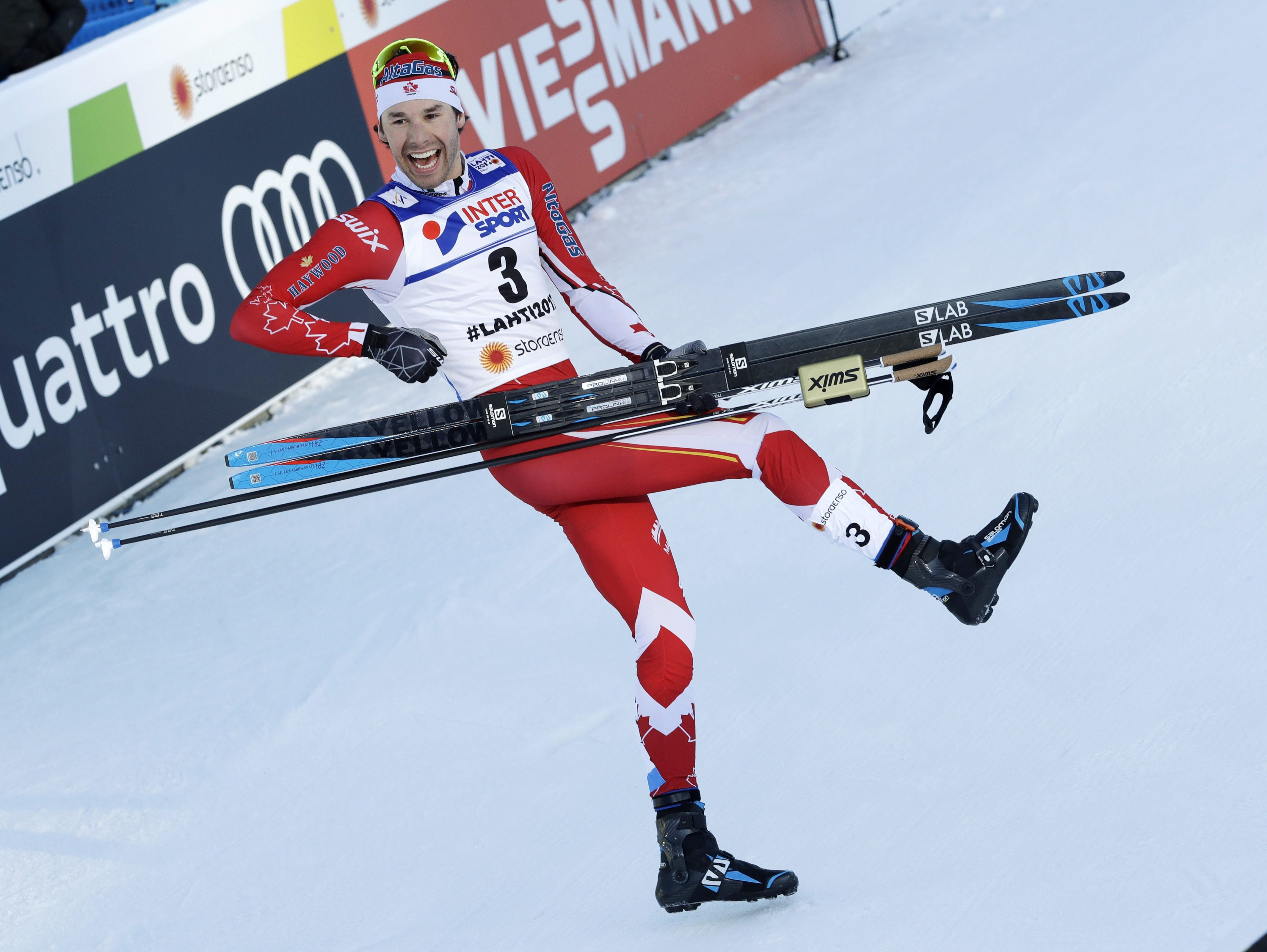 Canada's Alex Harvey celebrates after winning the men's 50 km race during the 2017 Nordic Skiing World Championships in Lahti, Finland, Sunday, March 5, 2017. (AP Photo/Matthias Schrader)