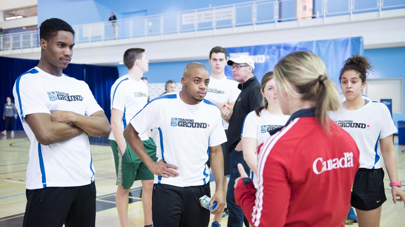 BCS talent ID coach Esther Dalle with participants at RBC Training Ground in Toronto in 2016. Photo credit: Mike Palmer