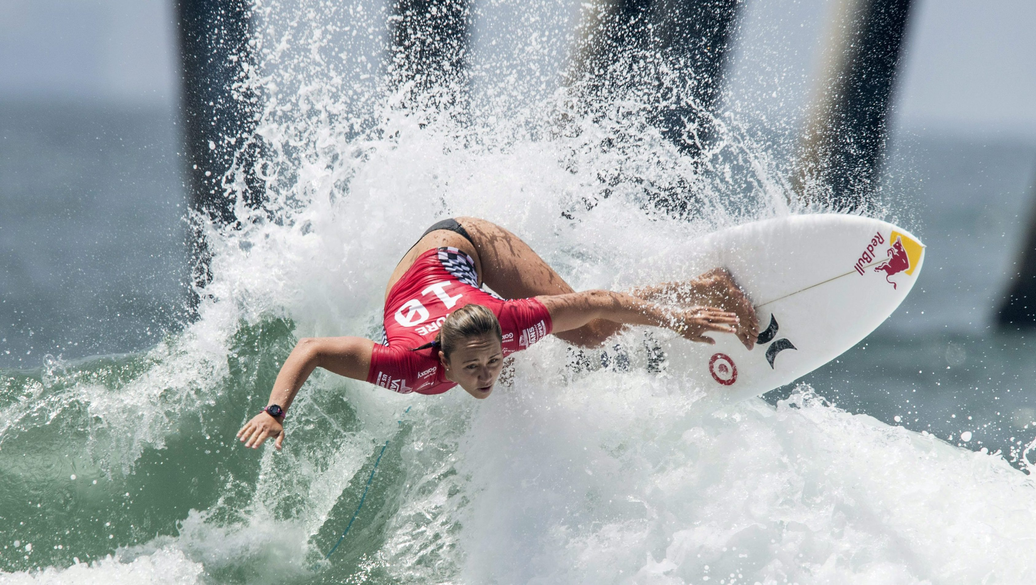 Carissa Moore surfing during a competition