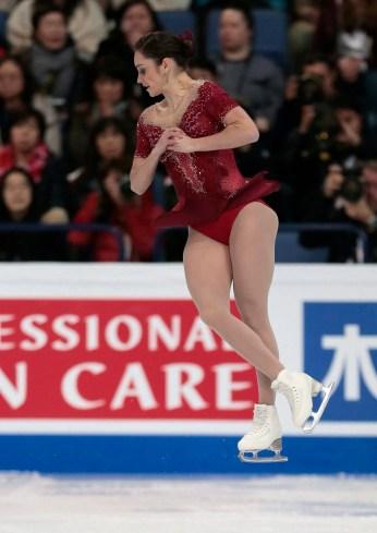 Kaetlyn Osmond skates at the World figure skating championships in Helsinki, Finland, March 31, 2017. (AP Photo/Ivan Sekretarev)