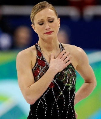 Crying after completing her short program