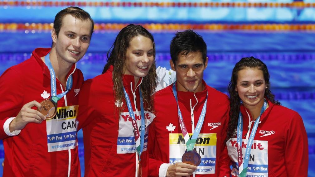 Team Canada swimmers capture world championship bronze in mixed medley relay