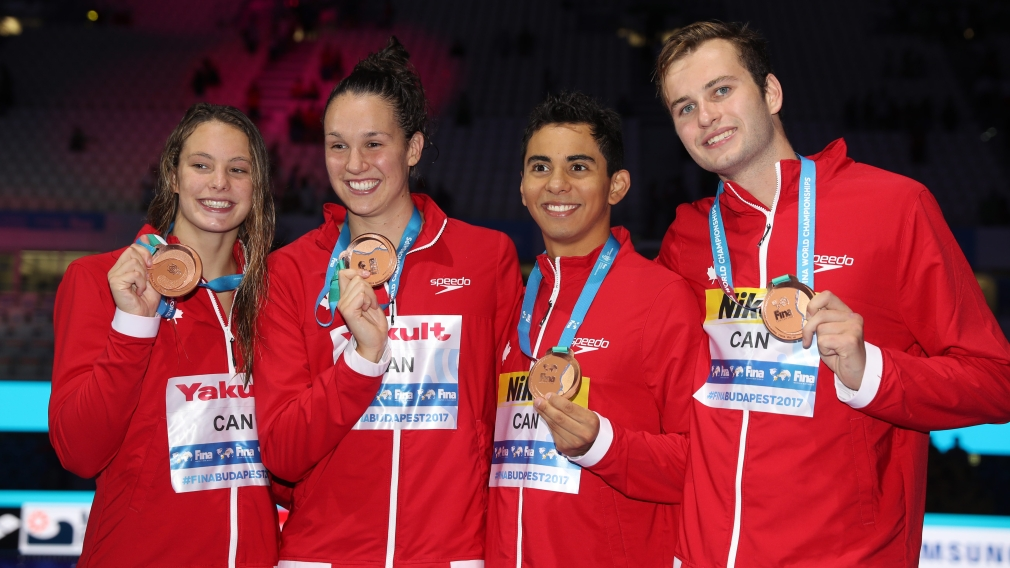 Canada wins world championship bronze in mixed 4x100m freestyle relay