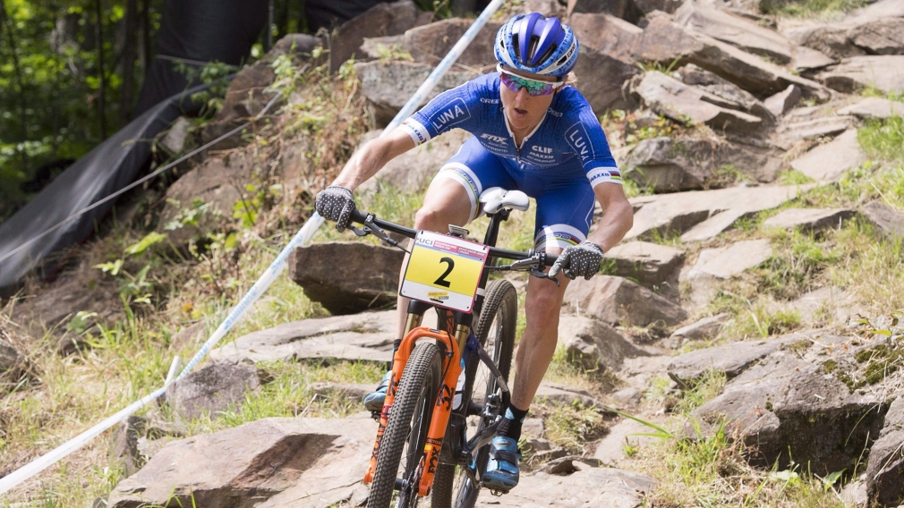 Catharine Pendrel of Kamloops B.C. pedals to win the women's cross-country mountain bike 2016 World Cup.