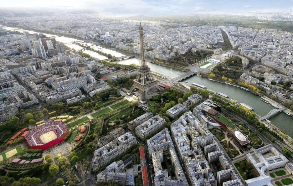 Artist's rendering of the beach volleyball venue on the Champs-de-Mars near the Eiffel Tower (Photo: Paris 2024)