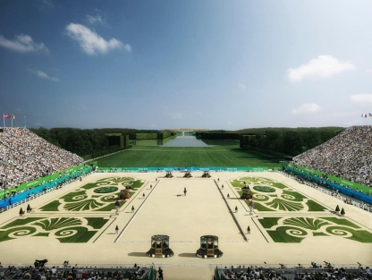 Artist's rendering of the equestrian competition venue in The Gardens at the Palace of Versailles (Photo: Paris 2024)