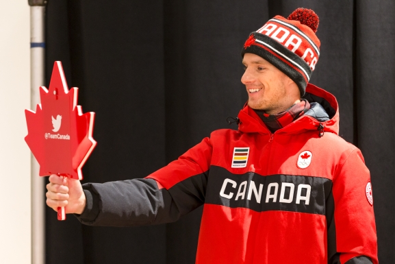 Max Parrot shows off Team Canada's opening ceremony look for PyeongChang 2018 to Twitter fans. (Photo by Adam Pulicicchio)