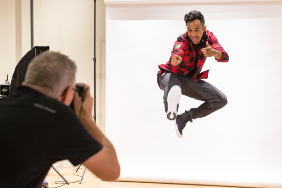 Gilmore Junio gets some serious air time during his Team Canada kit launch photo shoot. (Photo by Adam Pulicicchio)