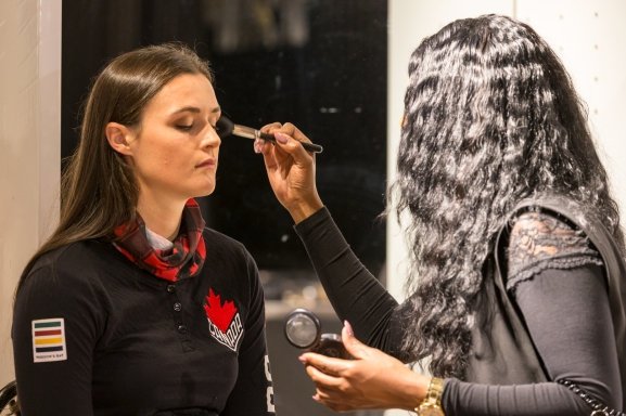 Marielle Thompson, getting her make-up done before the Hudson's Bay reveal of the Canadian Olympic and Paralympic athlete clothing kit for the upcoming 2018 Winter Games in Pyeongchang. (Photo by Adam Pulicicchio)