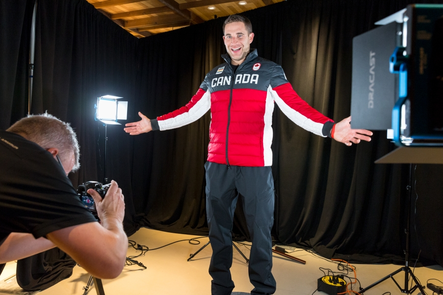 John Morris poses during the 360 degree photo-shoot before the big reveal. (Photo by Adam Pulicicchio)