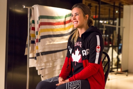 Marie-Michèle Gagnon smiles during an interview before the Hudson's Bay reveal of the Canadian Olympic and Paralympic athlete clothing kit for the upcoming 2018 Winter Games in Pyeongchang, (Photo by Adam Pulicicchio)