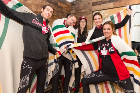 Team Canada athletes show of their kits at the 2018 Hudson's Bay Olympic Collection reveal (Photo by Adam Pulicicchio)