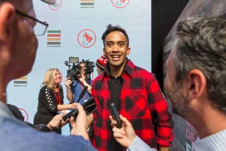 Gilmore Junio Olympian in Speed-Skating speaks to the media during the Hudson's Bay reveal of the Canadian Olympic and Paralympic athlete clothing kit for the upcoming 2018 Winter Games in Pyeongchang, South Korea on October 3, 2017 at the Eaton Centre in Toronto, Canada. (Photo by Adam Pulicicchio)