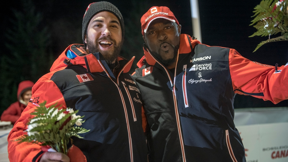 Team Canada - Chris Spring and Neville Wright celebrate their victory
