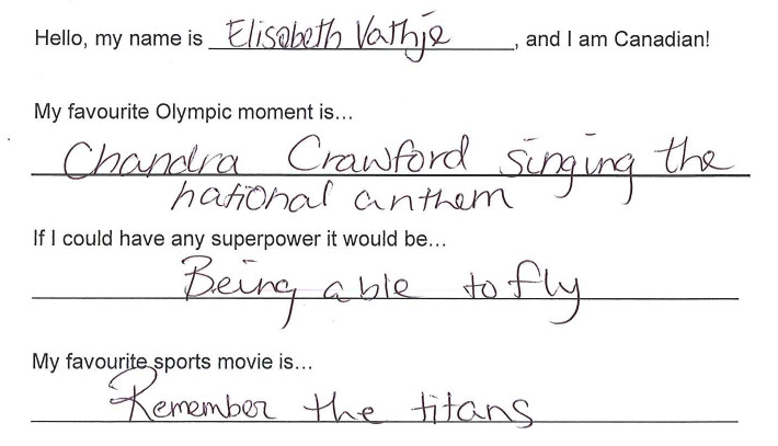 Team Canada - Elisabeth Vathje hi my name is response 1