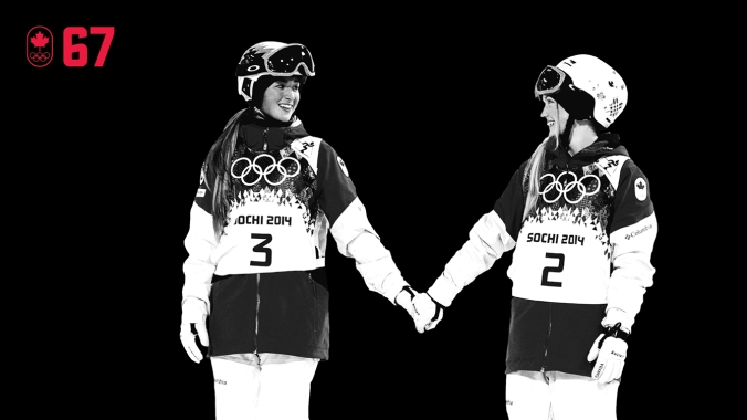 They're competitors who are also each other's biggest supporters. At Sochi 2014, Justine, Chloé, and Maxime Dufour-Lapointe were just the third sibling trio to compete in the same individual Winter Olympic event. After Justine and Chloé won moguls gold and silver, they held hands in a moment of sisterly love before stepping on the podium. BE UNITED