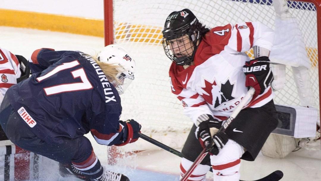 Brigette Lacquette facing off against Team USA
