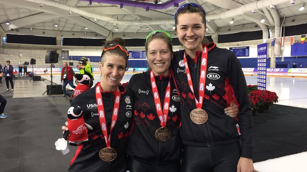 Canada claims World Cup women's team pursuit bronze in Calgary