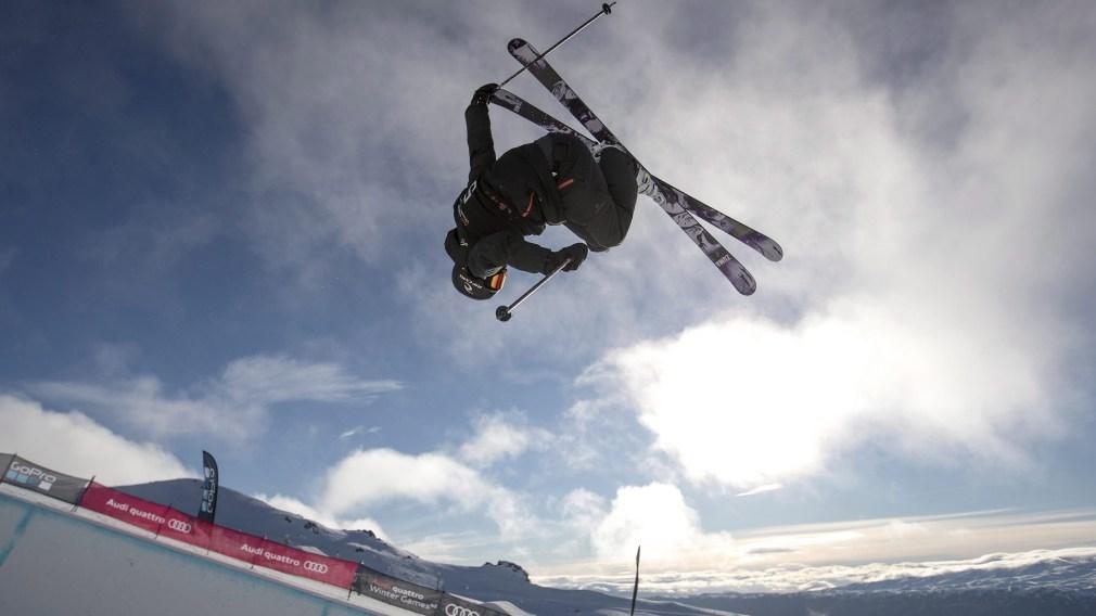 Simon d'Artois executing a ski trick