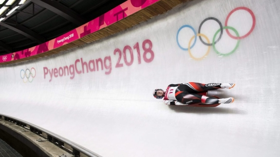 Alex Gough competing in luge