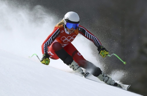 Canada's Roni Remme competes in the women's downhill at the 2018 Winter Olympics in Jeongseon, South Korea, Wednesday, Feb. 21, 2018. (AP Photo/Alessandro Trovati)