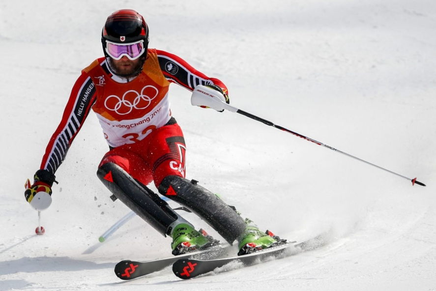 Phil Brown, of Canada, skis during the final run of the men's slalom at the 2018 Winter Olympics in Pyeongchang, South Korea, Thursday, Feb. 22, 2018. (AP Photo/Patrick Semansky)